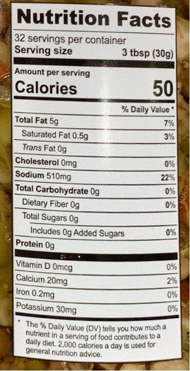 Muffuletta olive salad - Nutrition facts - en