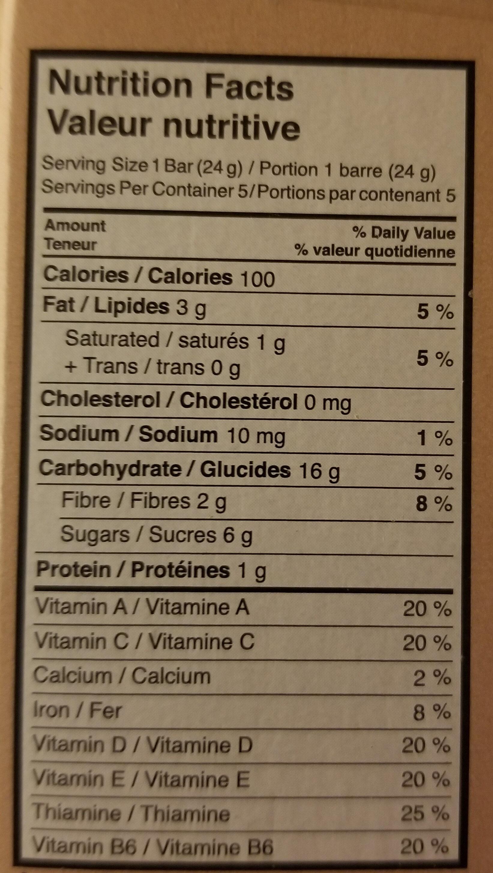 Barres de céréales made good grains de chocolat - Nutrition facts - fr