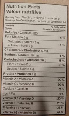 Barres granola grains de chocolat - Voedingswaarden