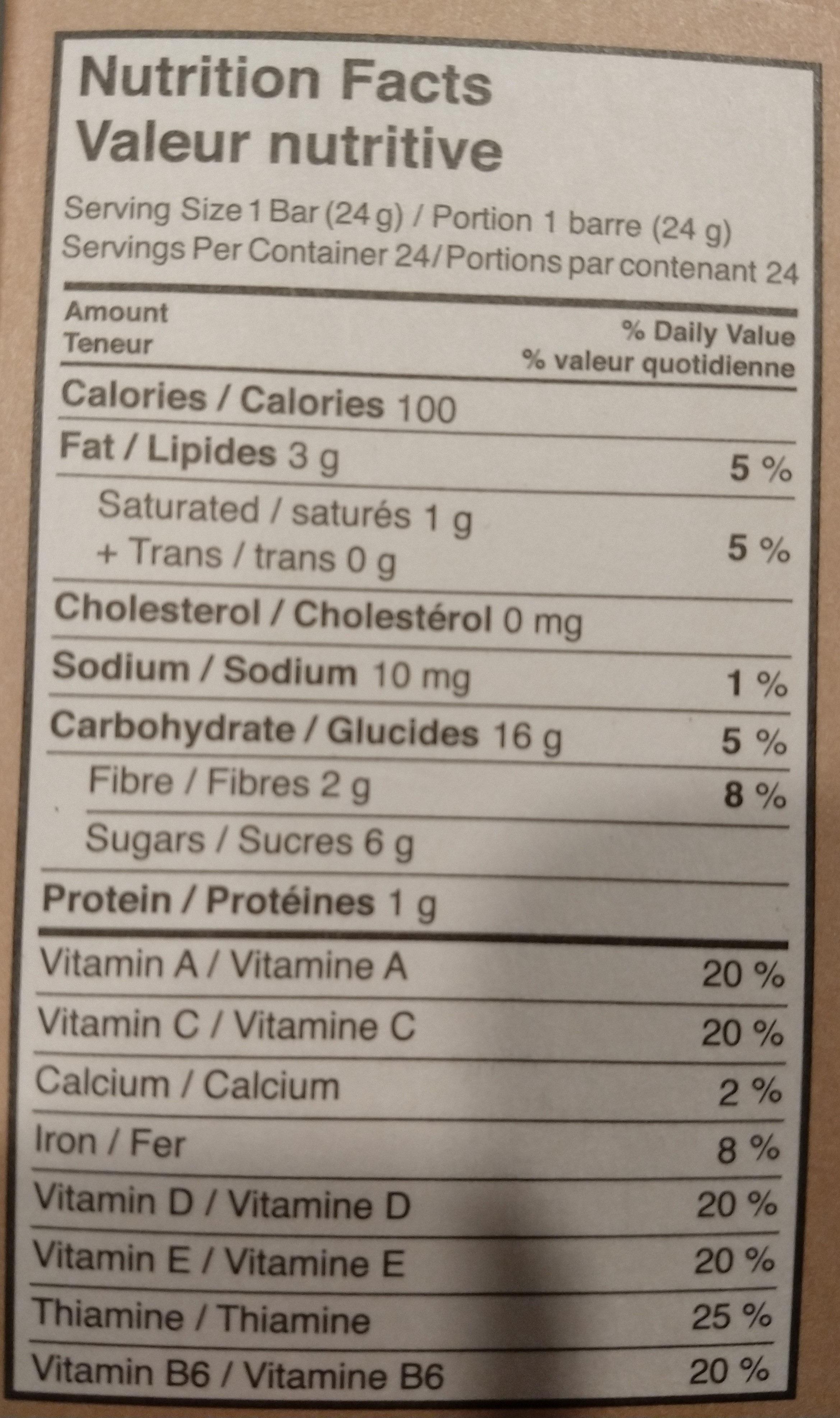 Barres granola grains de chocolat - Nutrition facts - fr