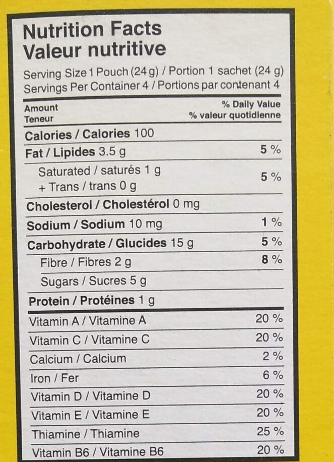 Chocolate Banana Organic Granola Minis - Voedingswaarden