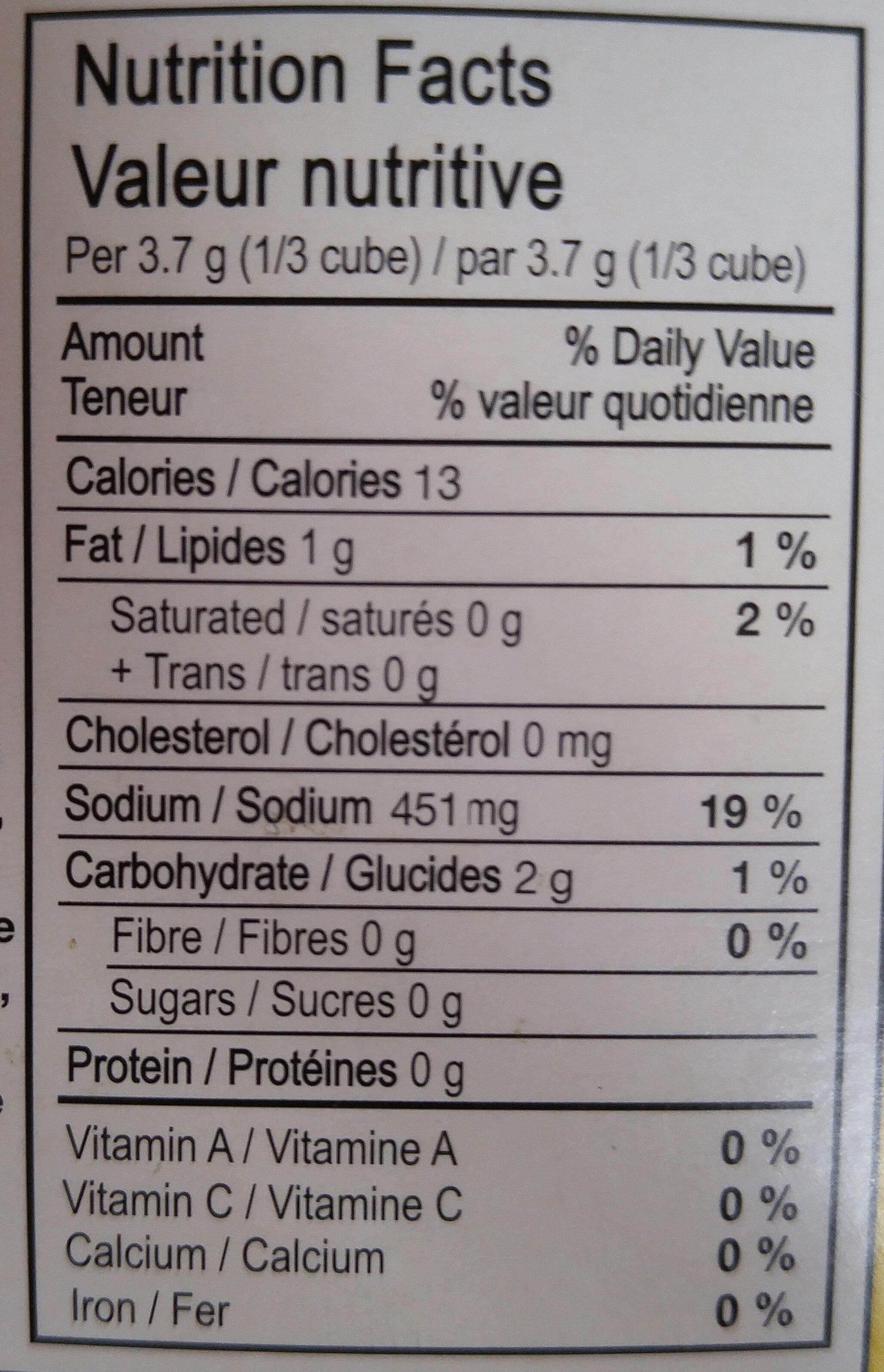 Gobio! Organic Chicken Bouillon Cubes - Informations nutritionnelles - fr