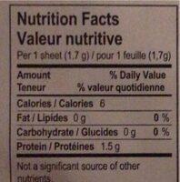 Gelatine biologique - Informations nutritionnelles - fr