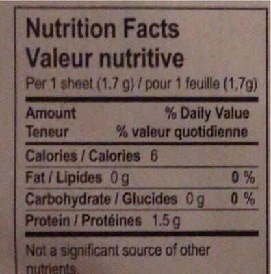 Gelatine biologique - Informations nutritionnelles