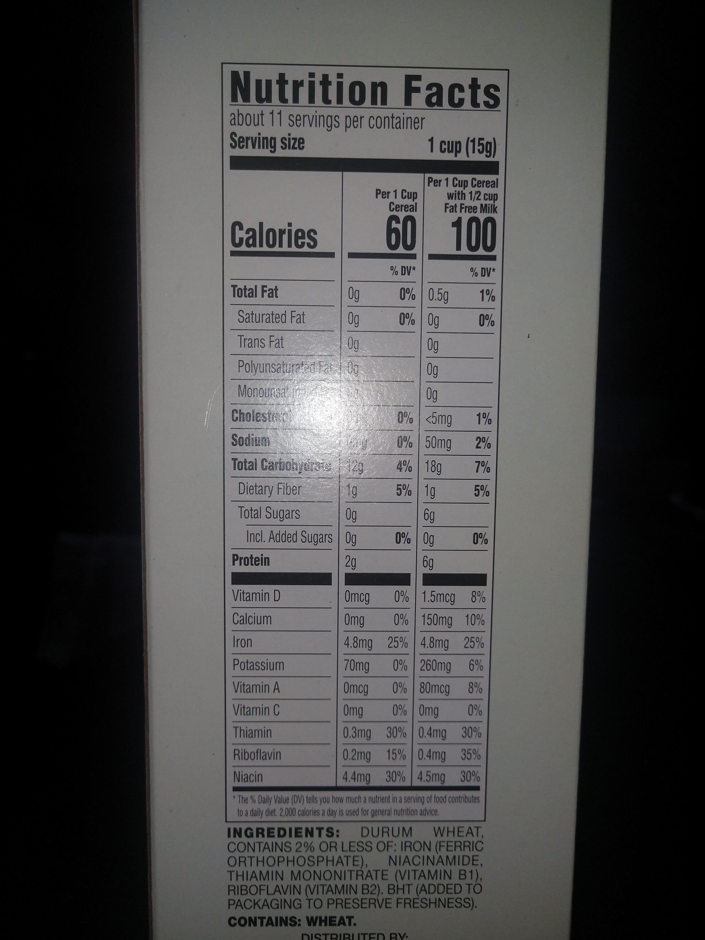 Giant, puffed wheat - Informations nutritionnelles - en