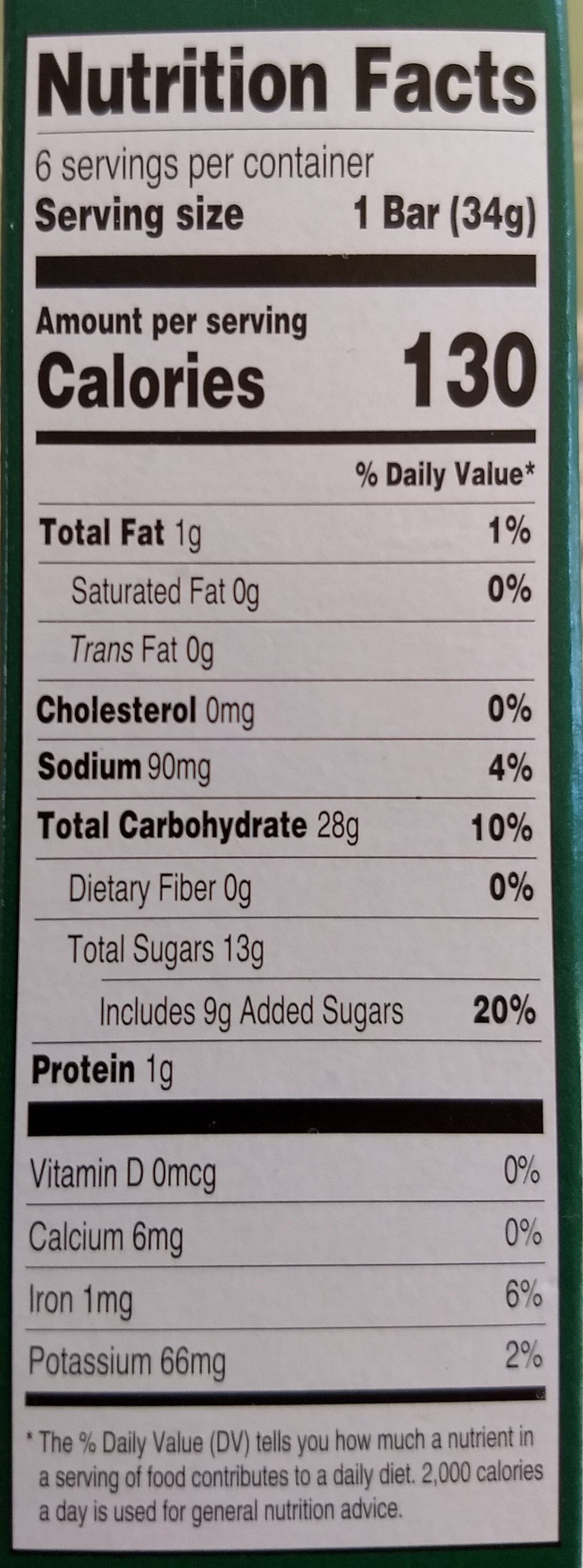 Fruit Bars, Apricot Flavor - Nutrition facts