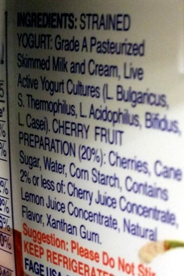 Fage Total 2% with Cherry - Ingredients