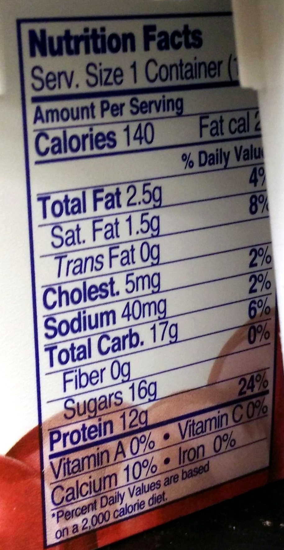 Fage Total 2% with Cherry - Nutrition facts