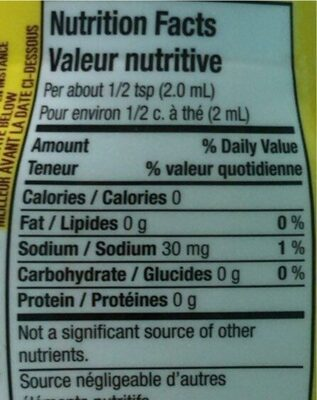 Lemonade/Limonade - Nutrition facts - fr