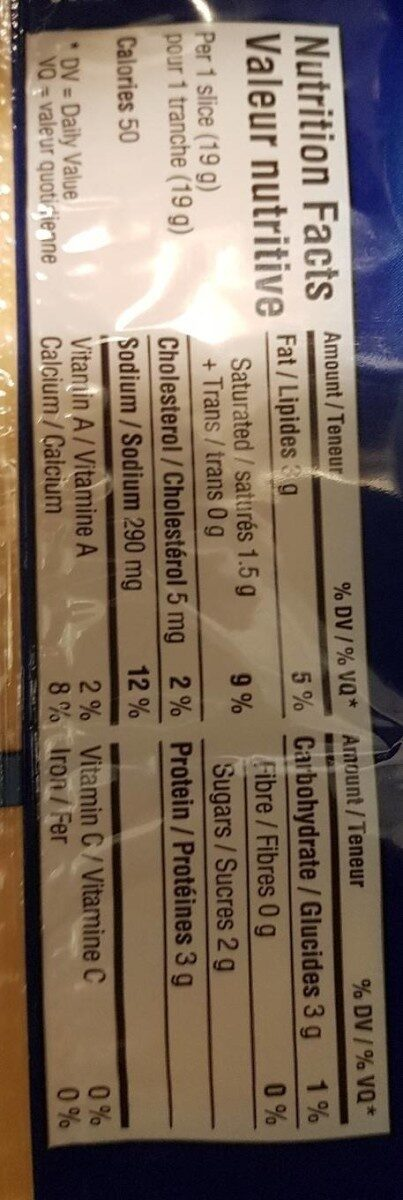 Fromage singles - Nutrition facts - en