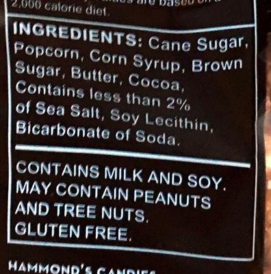 Hammond's, popcorn, chocolate - Ingredients - en