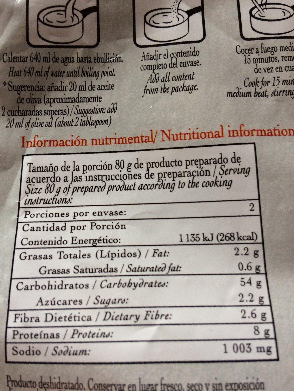 Paella Valenciana - Nutrition facts