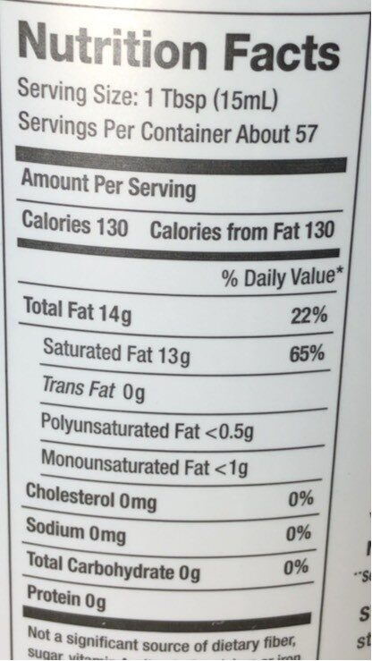 Organic coconut oil with buttery flavor - Nutrition facts - en