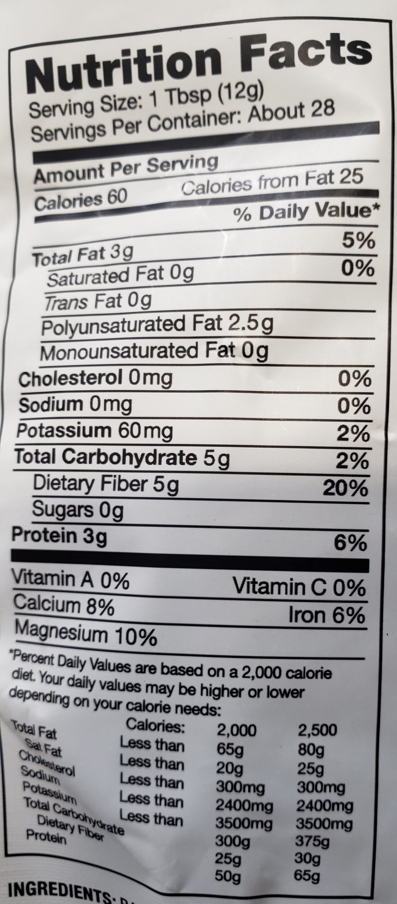 Chia Seed - Nutrition facts