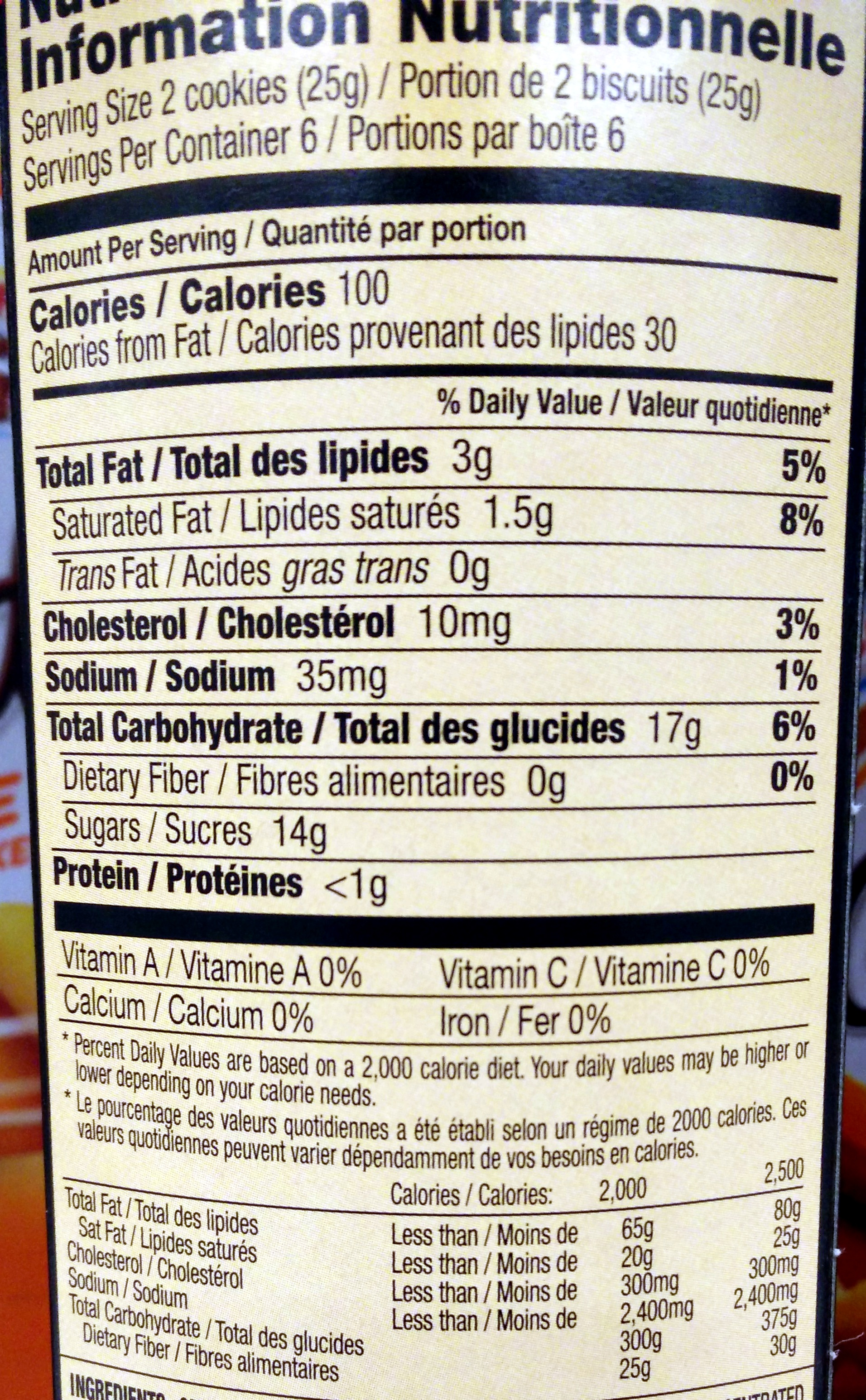 Lu pim's cookies orange 1x5.290 oz - Nutrition facts - en