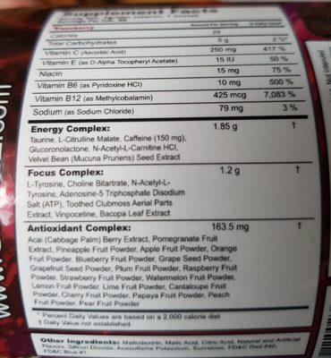 G Fuel Fazeberry - Ingredients