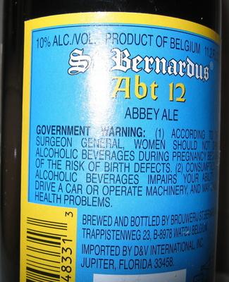 St. Bernardus Abt 12 - Ingredients - en