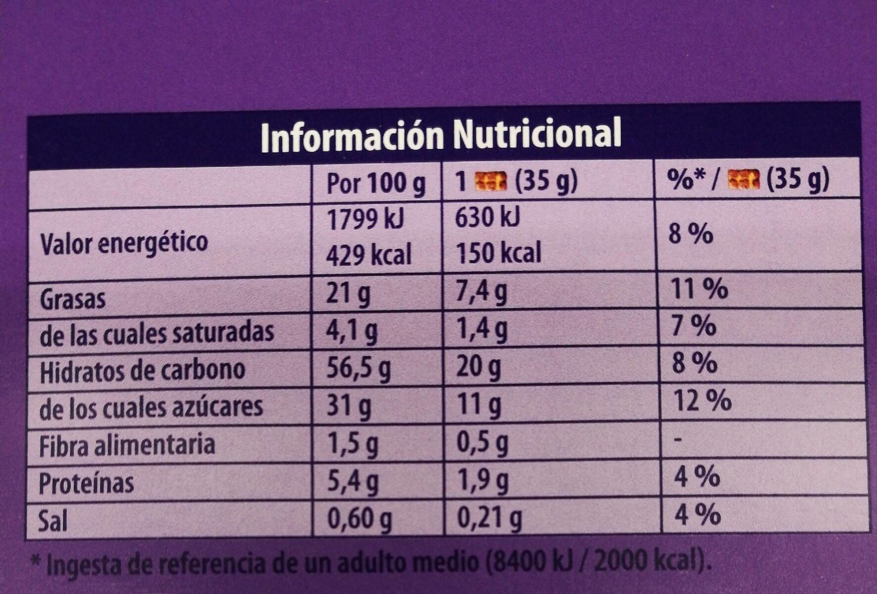 Milka cake&choc - Informations nutritionnelles - es