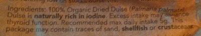 Organic Dulse Dried Seaweed - Ingredients - en