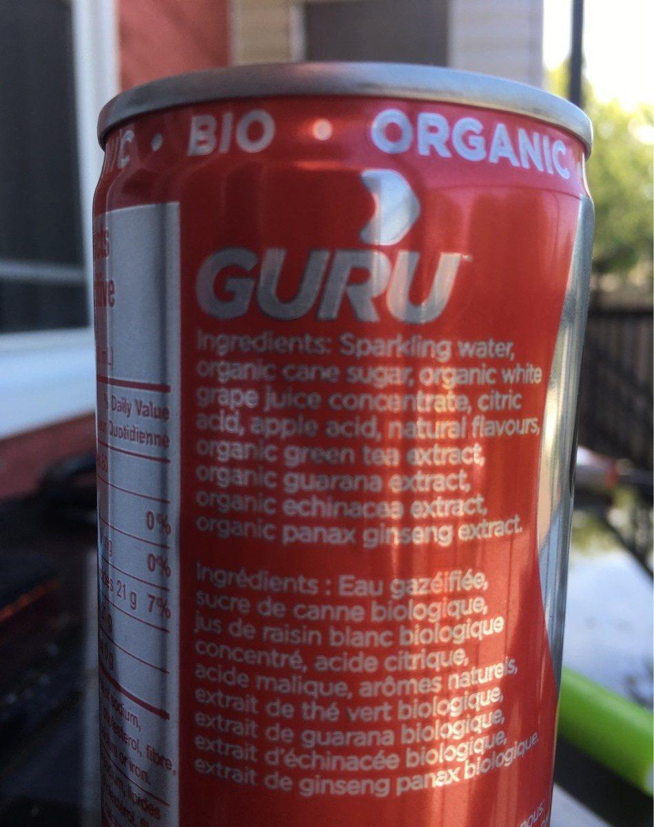 Guru bio organic - Ingredients - fr
