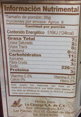 Cocina Mestiza - Voedingswaarden - es
