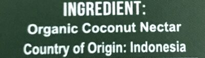 Coconut syrup - Ingrédients