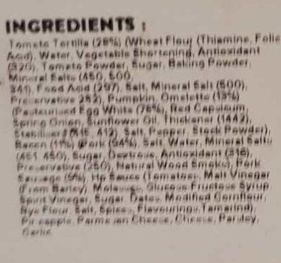 Youfoodz Bangin' Breaky Wrap - Ingredients