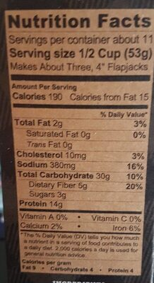 Power Cakes Flapjack & Waffle Mix - Nutrition facts