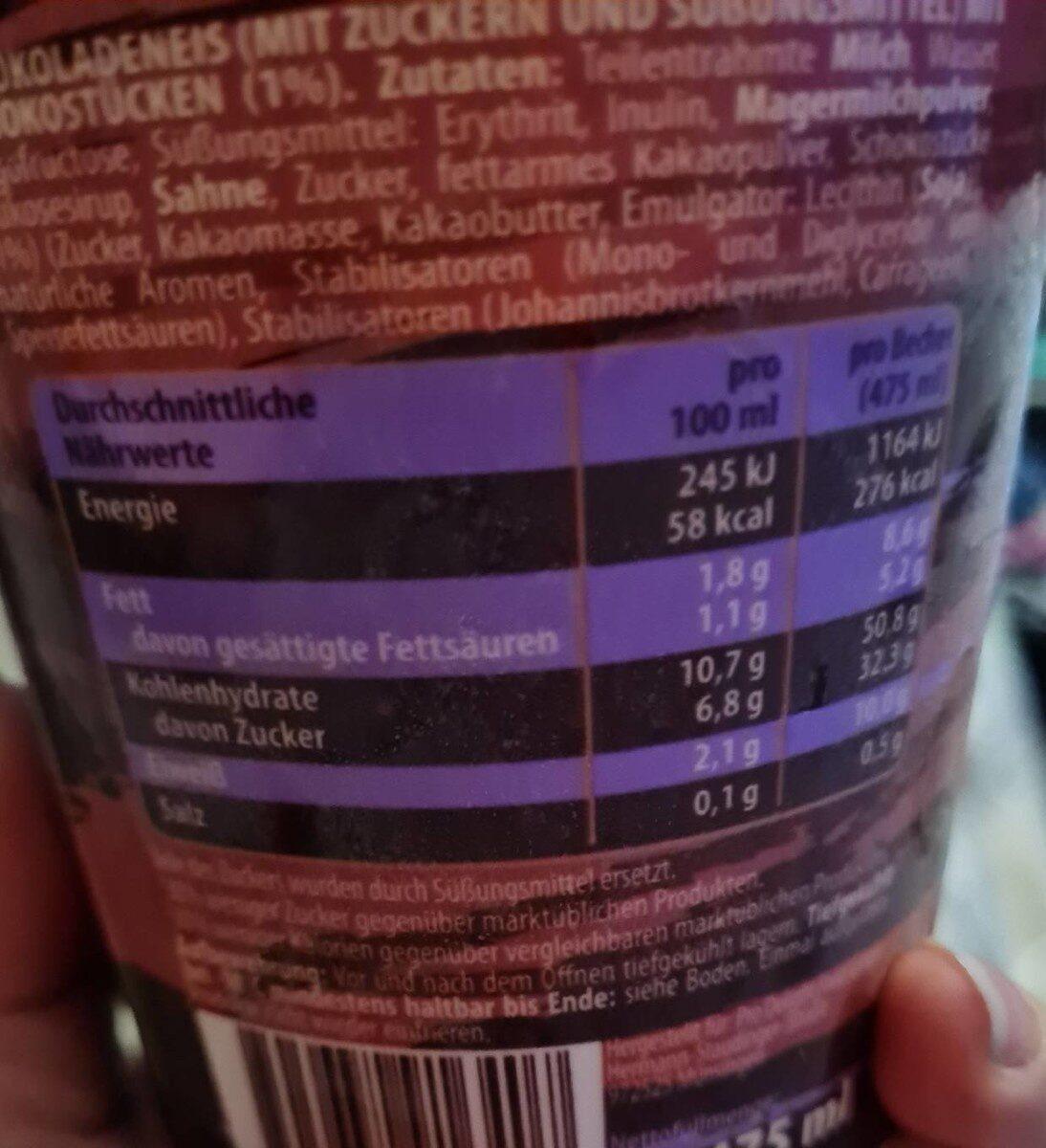 Callow's Creamy Chocolate - Nährwertangaben - de