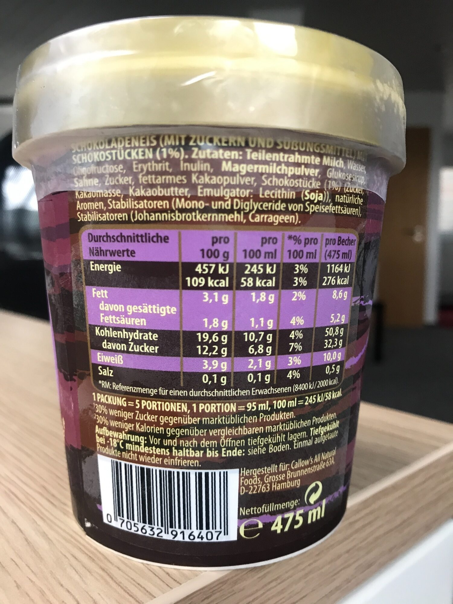 Callow's Dark Chocolate Eis - Nutrition facts