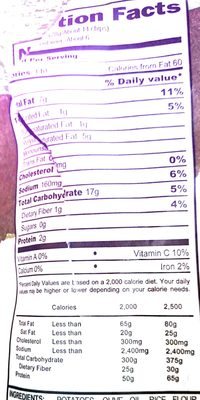 Cooked Potato Chips - Nutrition facts