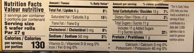 wafer rolls hazelnut - Nutrition facts - fr