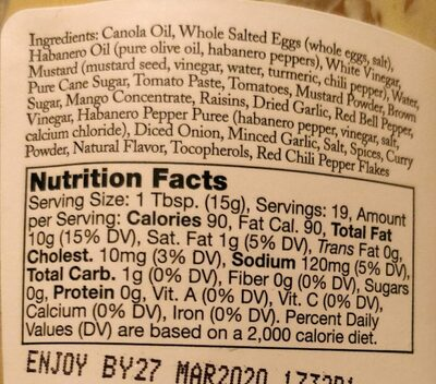 Sauce habanero - Nutrition facts