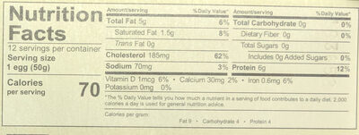Organic Eggs Free Range - Nutrition facts