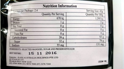 Cebu Dried Mangoes - Nutrition facts