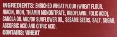 Toasted Sesame Water Crackers - Ingrédients - en