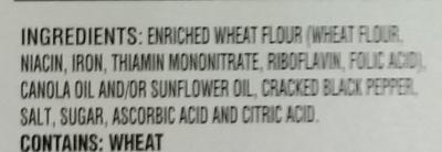 Cracked Pepper Water Crackers - Ingredients