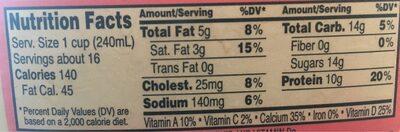 2% MILKFAT REDUCED FAT MILK - Nutrition facts