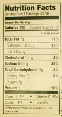Mealtoaf with mashed potatoes & gravy - Nutrition facts