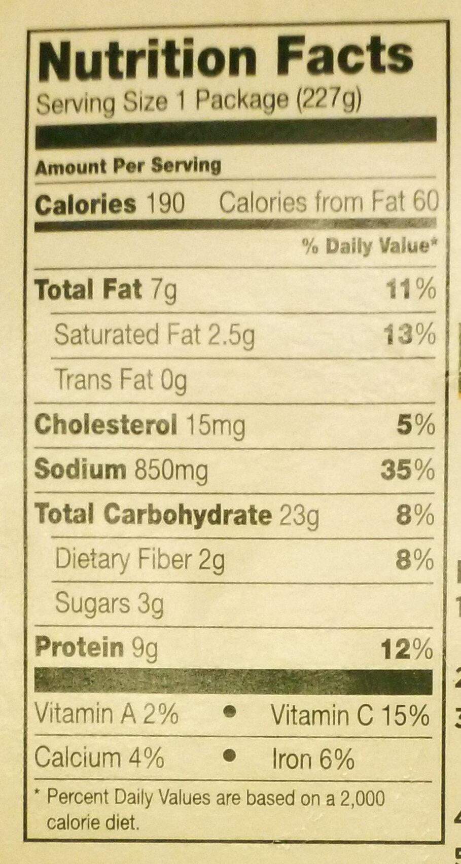 Meatloaf - Nutrition facts - en