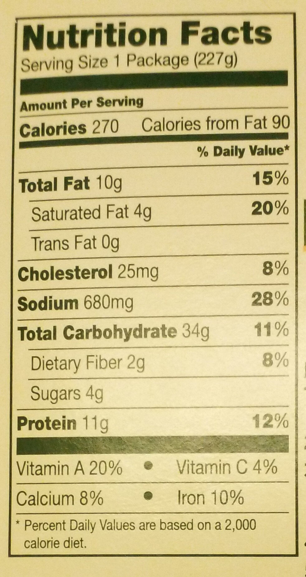 Pasta With White Chicken, Peas & Carrots - Nutrition facts
