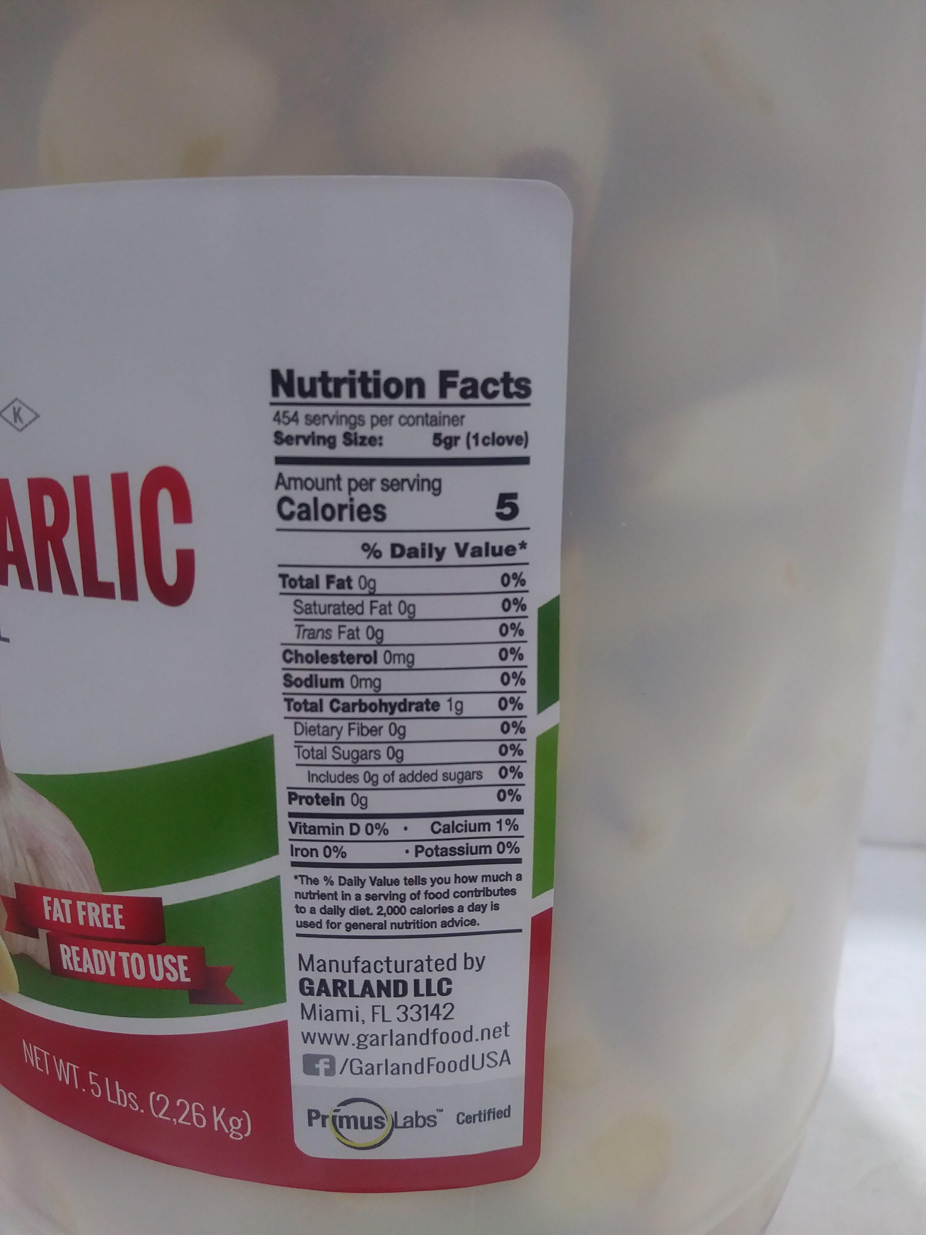 Fresh Peeled Garlic - Nutrition facts - en