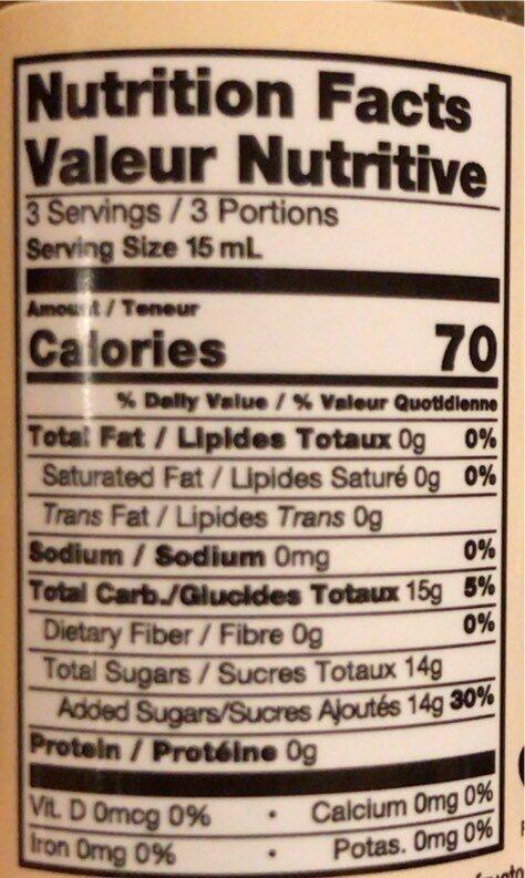 Premium syrup Hazelnut - Nutrition facts - en