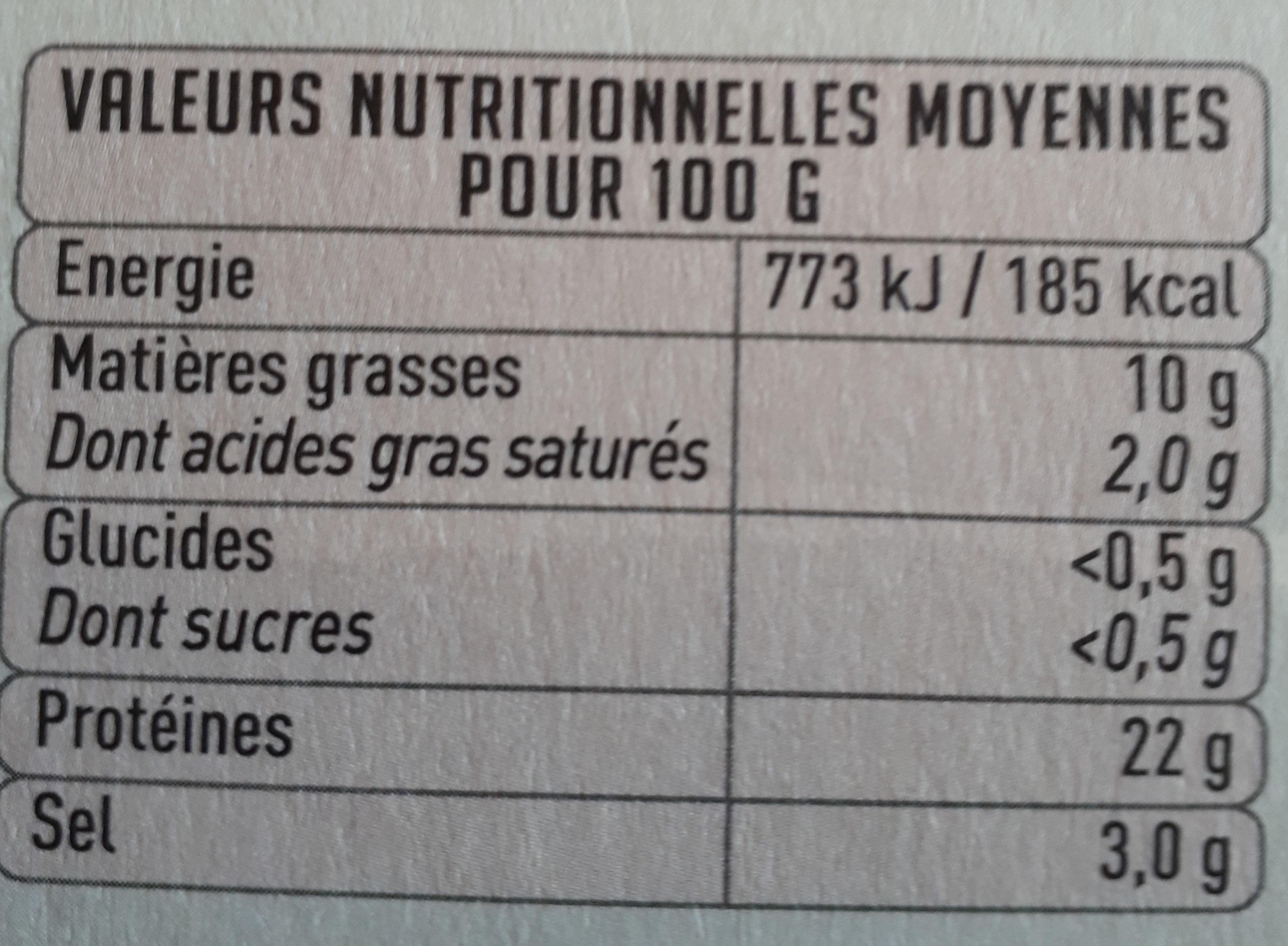 saumon pure origine - Voedingswaarden