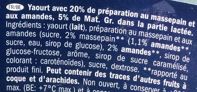 Yogurt al marzepane e mandorle - Ingrédients - fr