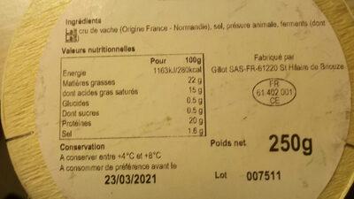 Camembert au lait cru - Ingrediënten - fr