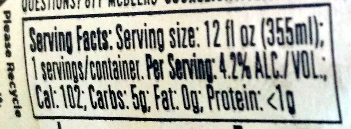 Coors Light   Nutrition Facts