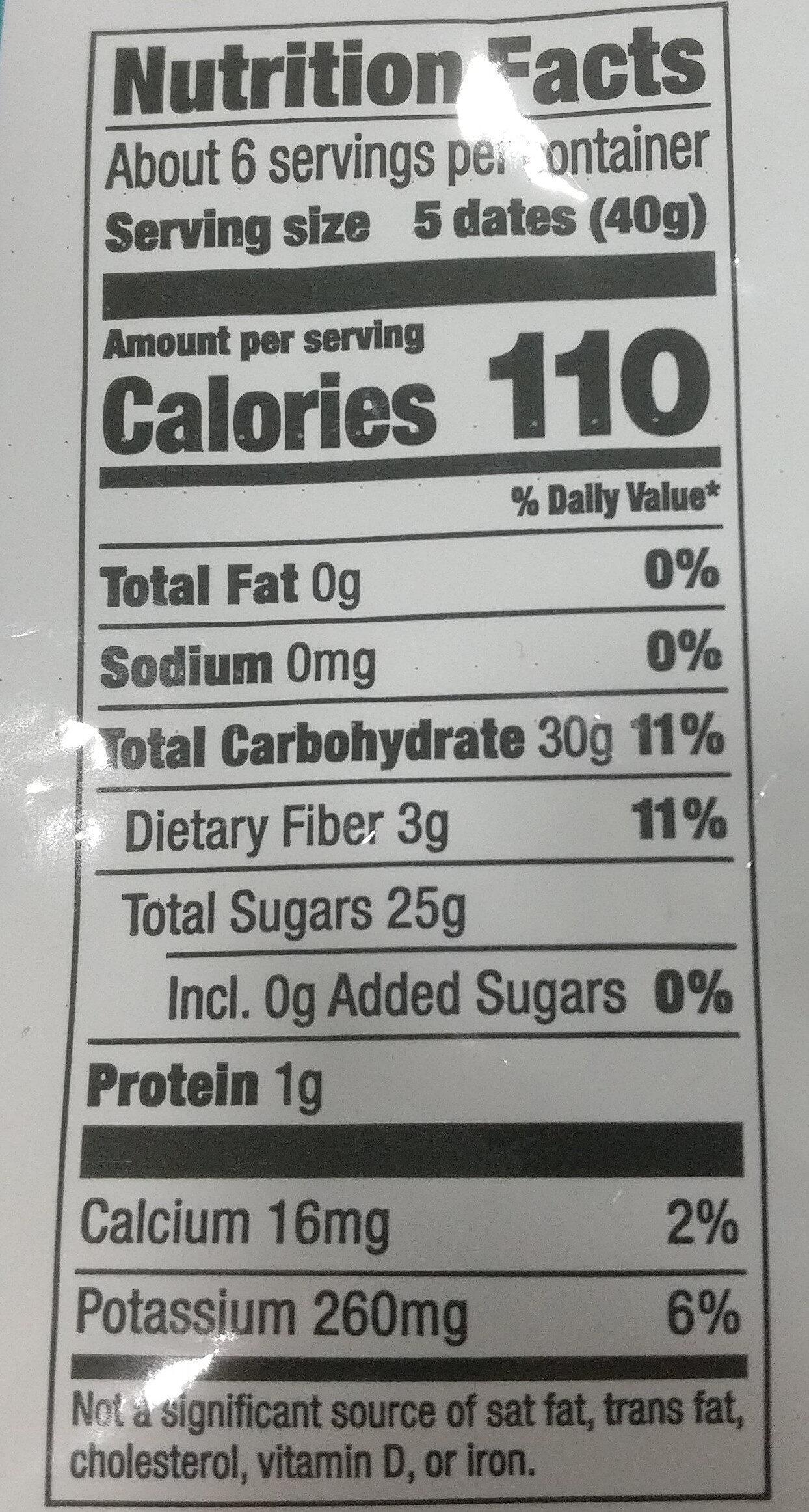 Organic Dried Dates - Informations nutritionnelles - en