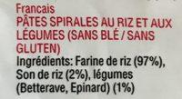 Vegetable rice spirals - Ingrédients