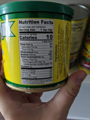 dragonfly artificial pork flavor broth mix - Nutrition facts - en